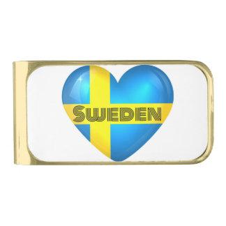 スウェーデンのハートの旗 ゴールド マネークリップ