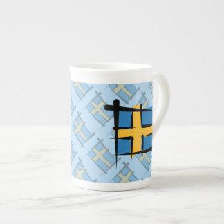 スウェーデンのブラシの旗 ボーンチャイナカップ