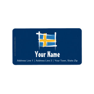 スウェーデンのブラシの旗 ラベル