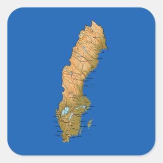 スウェーデンの地図のステッカー スクエアシール