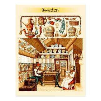 スウェーデンの家のインテリア(家具および調理器具) ポストカード