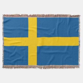 スウェーデンの旗によって編まれる投球毛布|スウェーデンのプライド スローブランケット