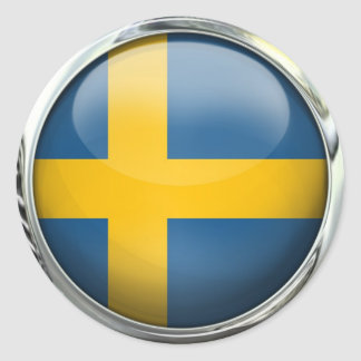 スウェーデンの旗の円形のガラス玉 ラウンドシール