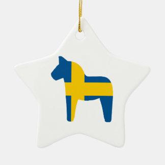 スウェーデンの旗のDalaの馬 セラミックオーナメント