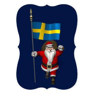 スウェーデンの旗を持つサンタクロース カード