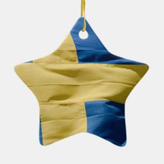 スウェーデンの旗 セラミックオーナメント
