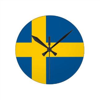 スウェーデンの時計の旗 ラウンド壁時計