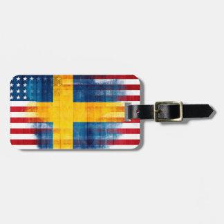 スウェーデンの米国旗|の木製の穀物|の一流の住所 ラゲッジタグ