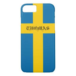 スウェーデンの美しくクールで愛国心が強いモノグラムの旗 iPhone 8/7ケース