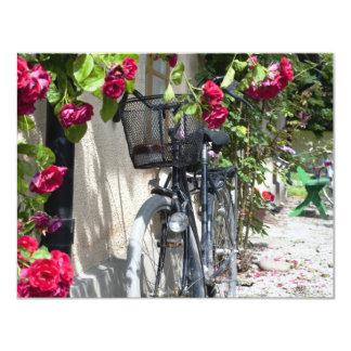 スウェーデンの自転車そしてバラ カード