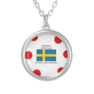 スウェーデンの金ゴールド2018年-女性の15km Skiathlon シルバープレートネックレス