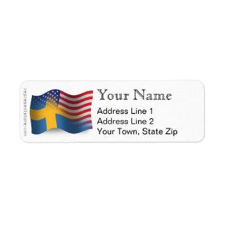 スウェーデンアメリカの振る旗 ラベル