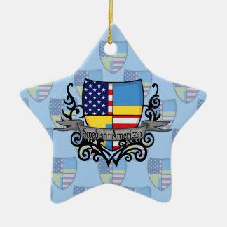 スウェーデンアメリカの盾の旗 セラミックオーナメント