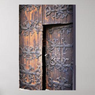 スウェーデンゴトランドの島古い教会ドア ポスター