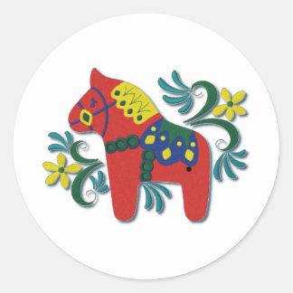 スウェーデン人のDalaのカラフルな馬 ラウンドシール