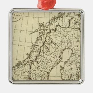 スウェーデン、デンマーク、ノルウェーの輪郭 メタルオーナメント