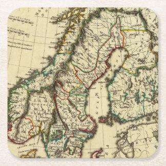 スウェーデン、デンマーク、輪郭を描かれる境界のノルウェー スクエアペーパーコースター