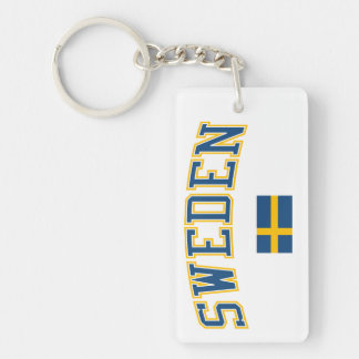 スウェーデン + 旗 長方形(片面)アクリル製キーホルダー