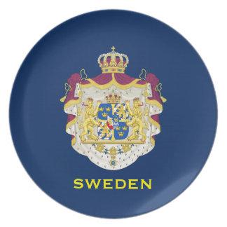 スウェーデン-装飾的なプレート紋章付き外衣 お皿