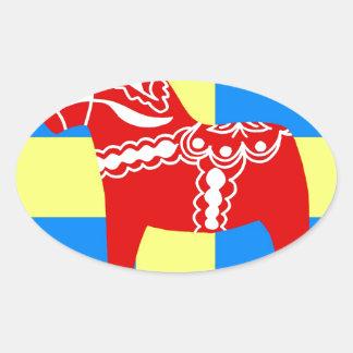 スウェーデンDalaの馬 楕円形シール