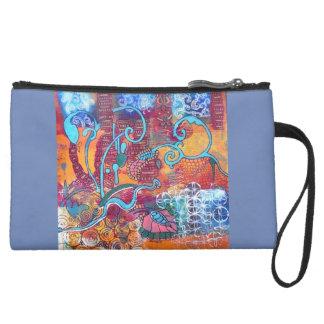 """スエードのリストレットの財布""""幸せな日"""" スエードクラッチ"""