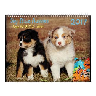 スカイブルーのオーストラリア人の秋の子犬- 2017カレンダー カレンダー