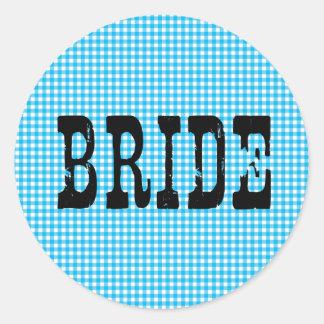 スカイブルーのギンガムの国の花嫁の黒 ラウンドシール