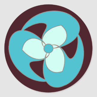 スカイブルーのレトロの三日月形の螺線形の花のステッカー ラウンドシール