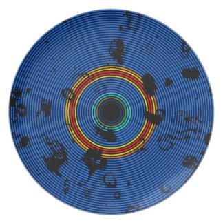 スカイブルーの多彩なビニールディスク質パターン プレート