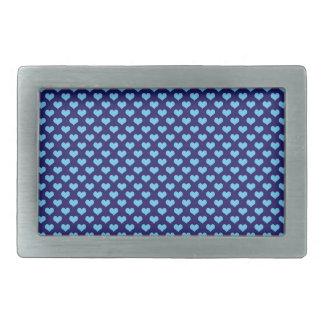 スカイブルーの小さいハートパターン濃紺の背景 長方形ベルトバックル