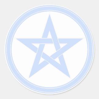 スカイブルーの星形五角形 ラウンドシール