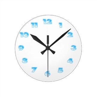 スカイブルーの時計の型板 ラウンド壁時計