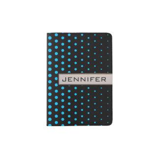 スカイブルーの水玉模様のモダンの黒 パスポートカバー