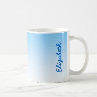 スカイブルーの白いグラデーション コーヒーマグカップ