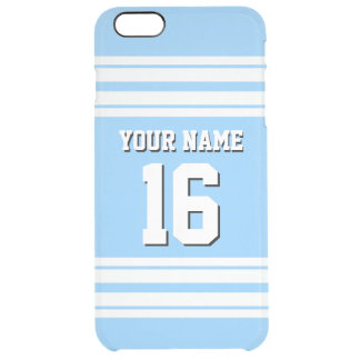スカイブルーの白いチームジャージーカスタムな数名前 クリア iPhone 6 PLUSケース
