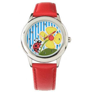 スカイブルーの縦ストライプのかわいいてんとう虫 腕時計