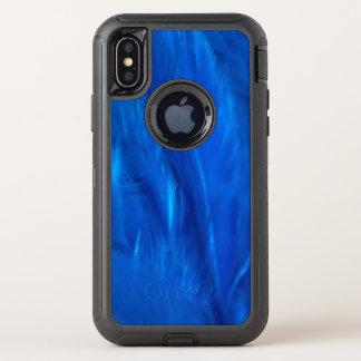 スカイブルーの羽および オッターボックスディフェンダーiPhone X ケース