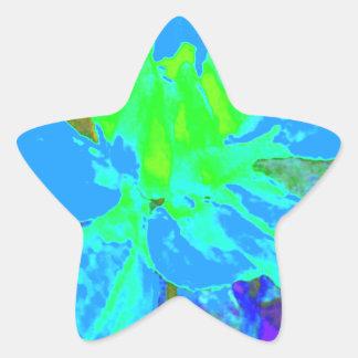 スカイブルーの花のダリアの花模様 星シール