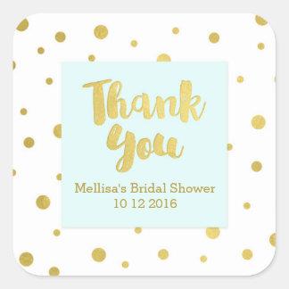 スカイブルーの金ゴールドのブライダルシャワーはメッセージカード感謝していしています スクエアシール