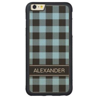 スカイブルーの黒いバッファローの点検の格子縞の名前のモノグラム CarvedメープルiPhone 6 PLUSバンパーケース