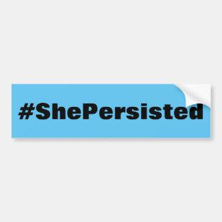 スカイブルーの#ShePersisted、はっきりしたで黒い文字 バンパーステッカー