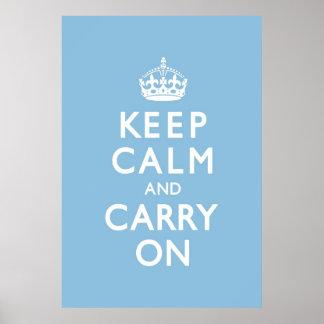 スカイブルーのKeep Calm and Carry On ポスター