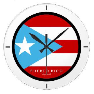 スカイブルー、プエルトリコの旗 ラージ壁時計