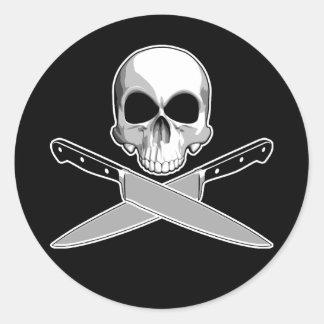 スカルおよびシェフのナイフ ラウンドシール