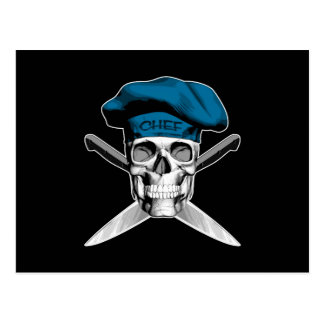 スカルおよびシェフのナイフ: 青い帽子 ポストカード
