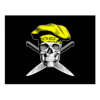 スカルおよびシェフのナイフ: 黄色い帽子 ポストカード