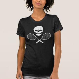 スカルおよびテニスラケット Tシャツ