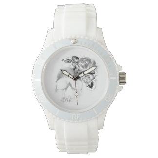 スカルおよびバラ 腕時計