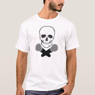 スカルおよび十字のマイクロフォン Tシャツ