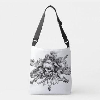 スカルおよび十字の骨のファンシーな海賊黒及び白 クロスボディバッグ